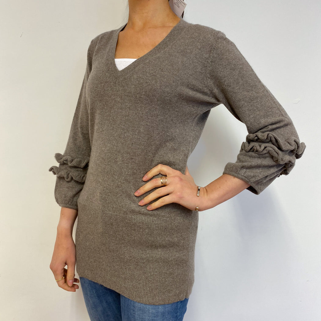 Frill Sleeve Biscuit V Neck Jumper Small