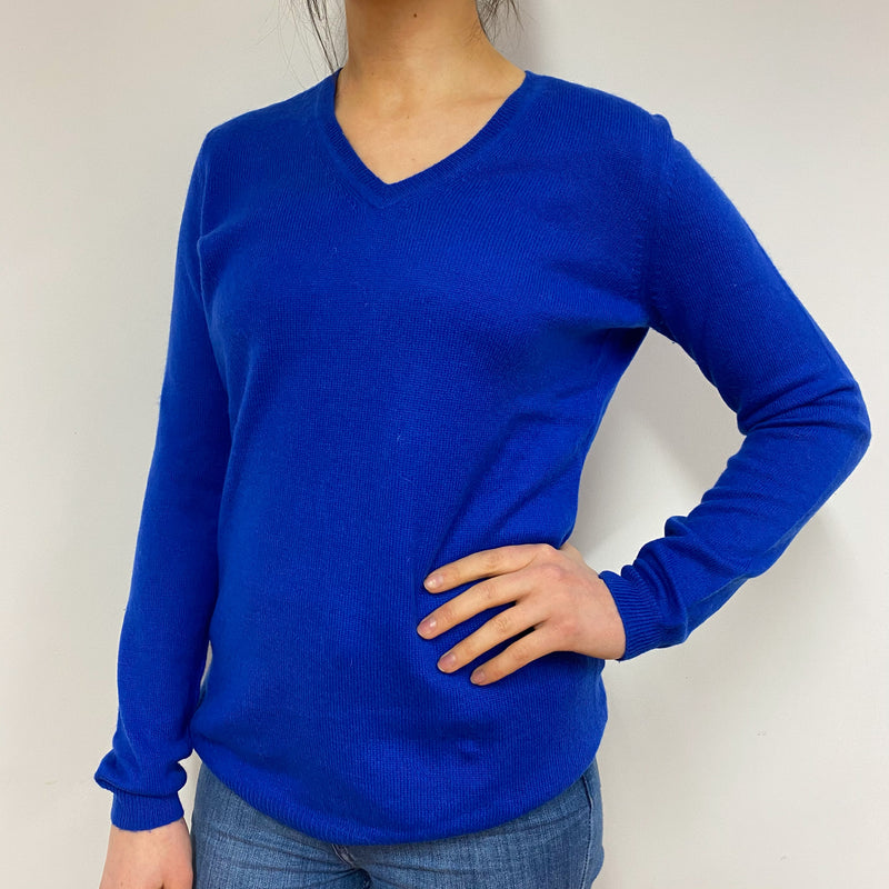 Cobalt Blue V Neck Jumper Small