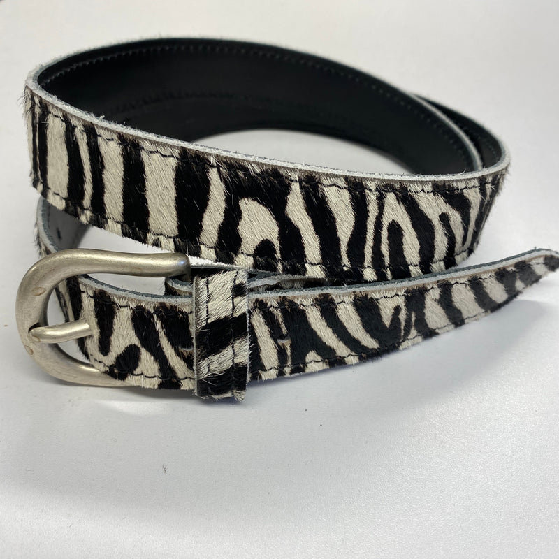 Leather and Hide Zebra Print Belt M/L