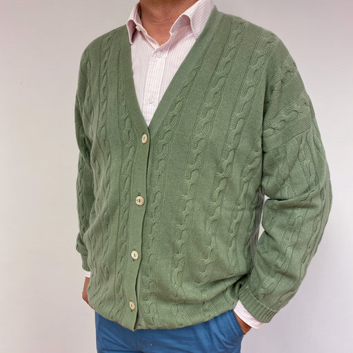 Men's Scottish Green Cable Knit Cardigan XL