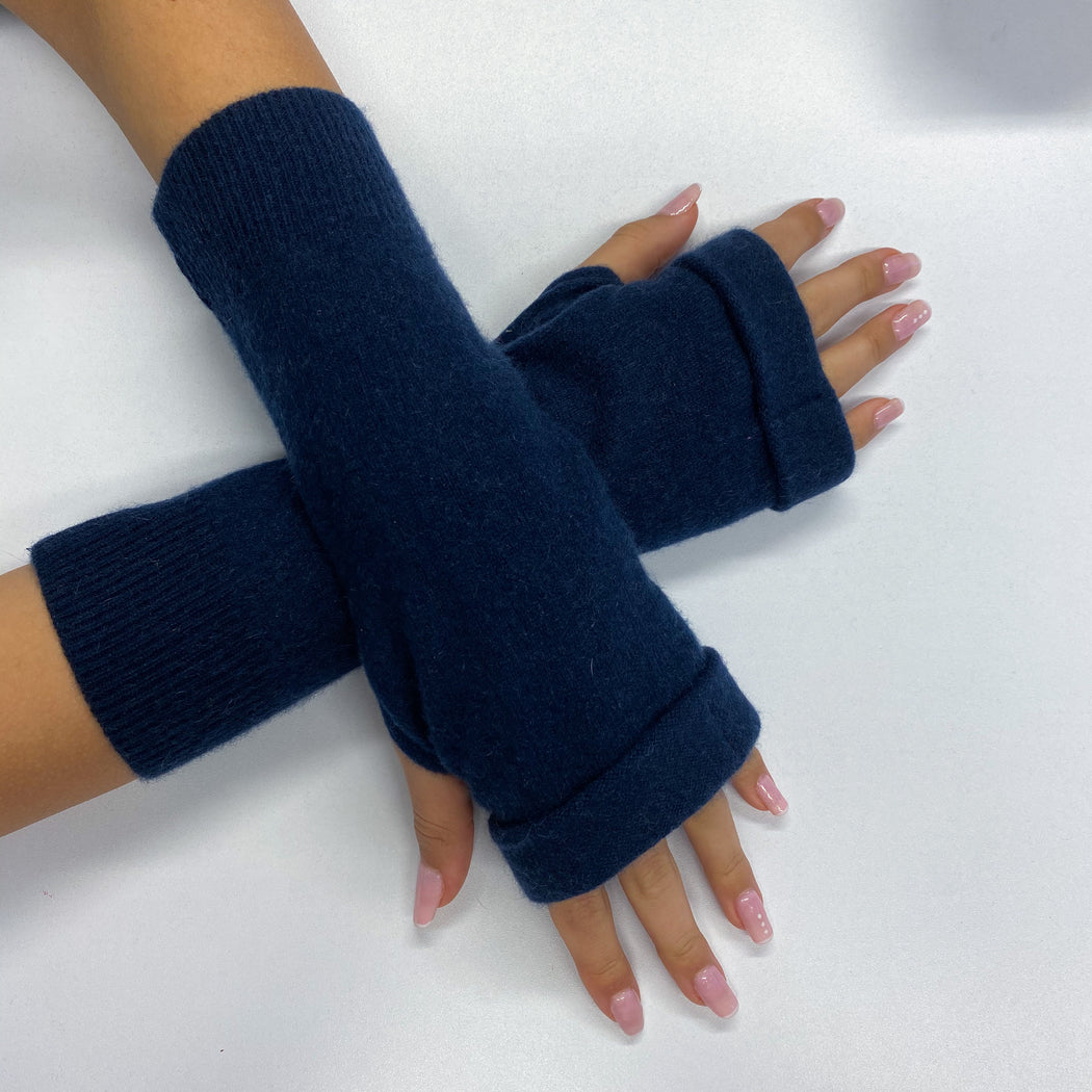 Navy Blue Fingerless Gloves