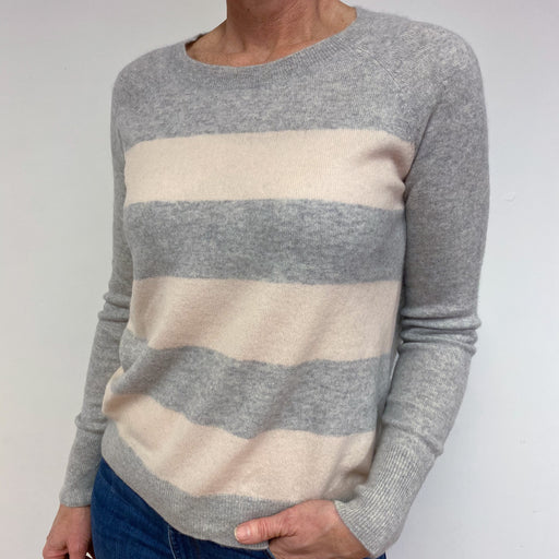 Pale Grey and Pink Stripe Crew Neck Jumper Medium