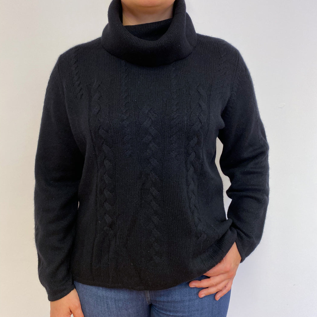Black Heavy Cable Knit Polo Neck Jumper Large