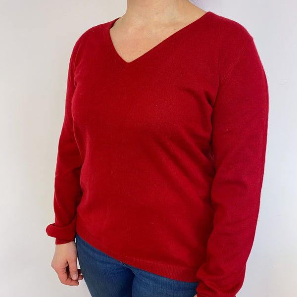 Crimson Red V Neck Jumper Large