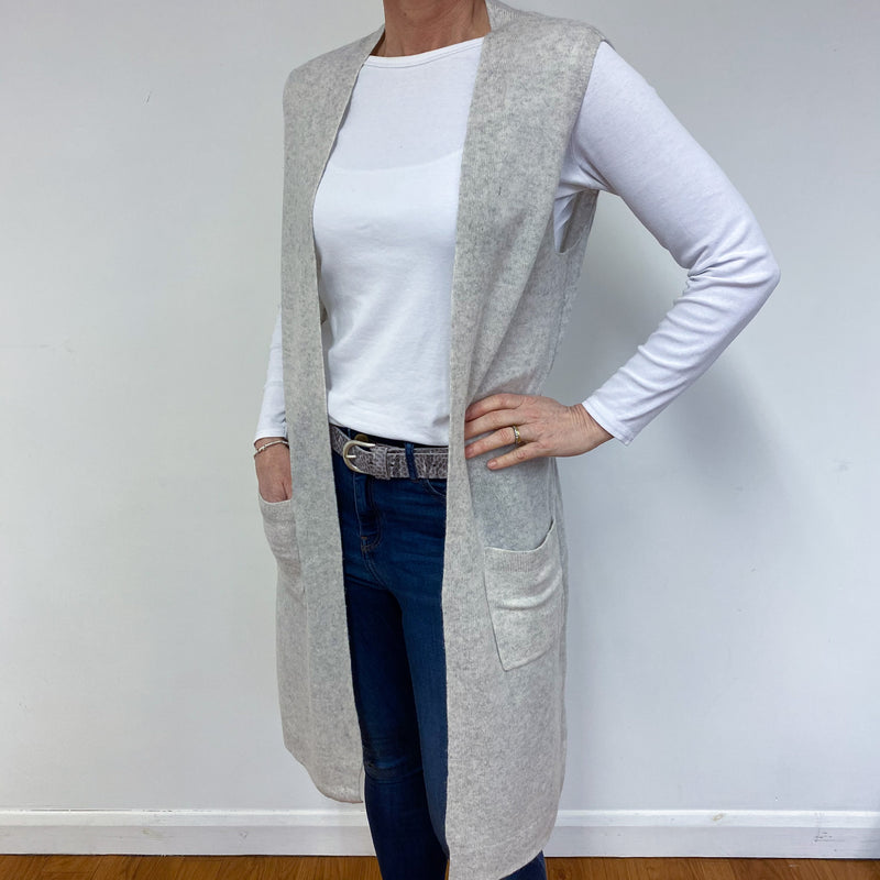 Palest Grey Sleeveless Long Cardigan Medium