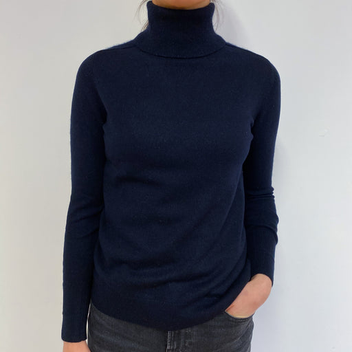 Classic Navy Blue Polo Neck Jumper Small