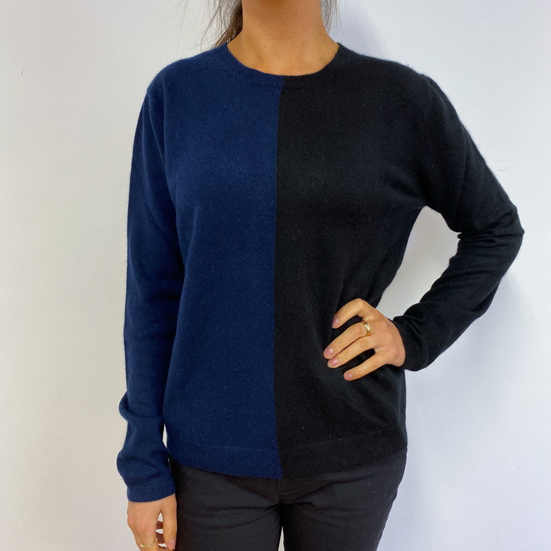 Slouchy Black & Navy Tunic Crew Neck Jumper Small