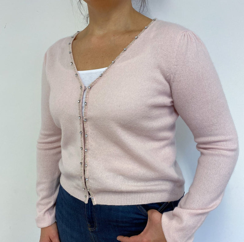 Sparkly Baby Pink V neck Cardigan Large