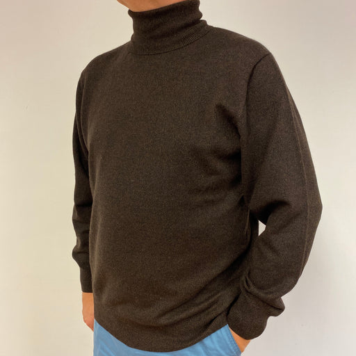 Men's Chocolate Brown Polo Neck Jumper XL