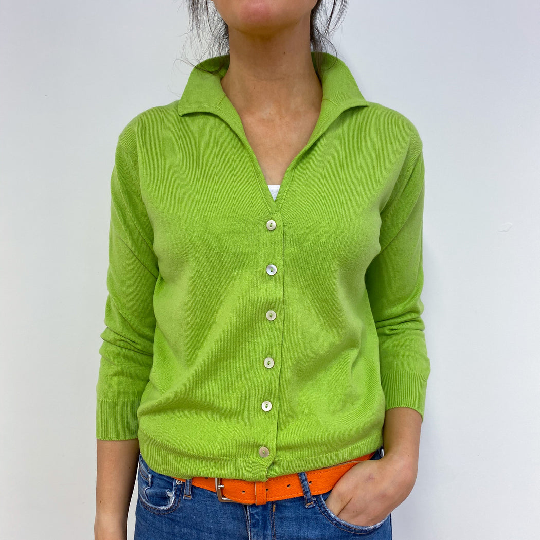 Vibrant Pear Green Collared Cardigan Small