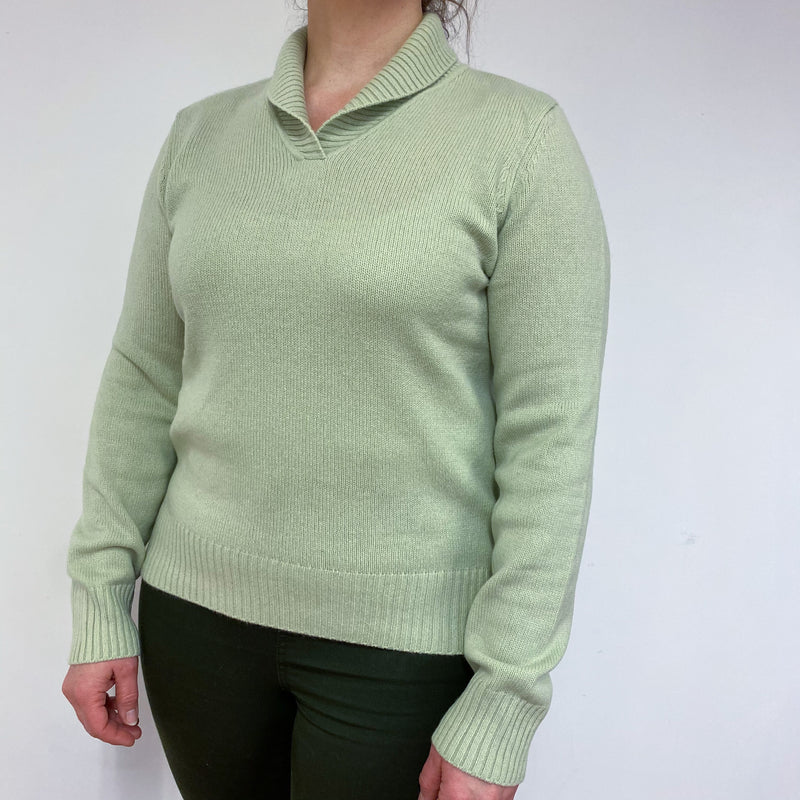 Pistachio Green Shawl V Neck Jumper Large
