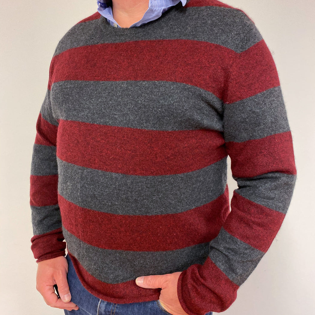 Men's Red and Grey Striped Crew Neck Jumper XXL