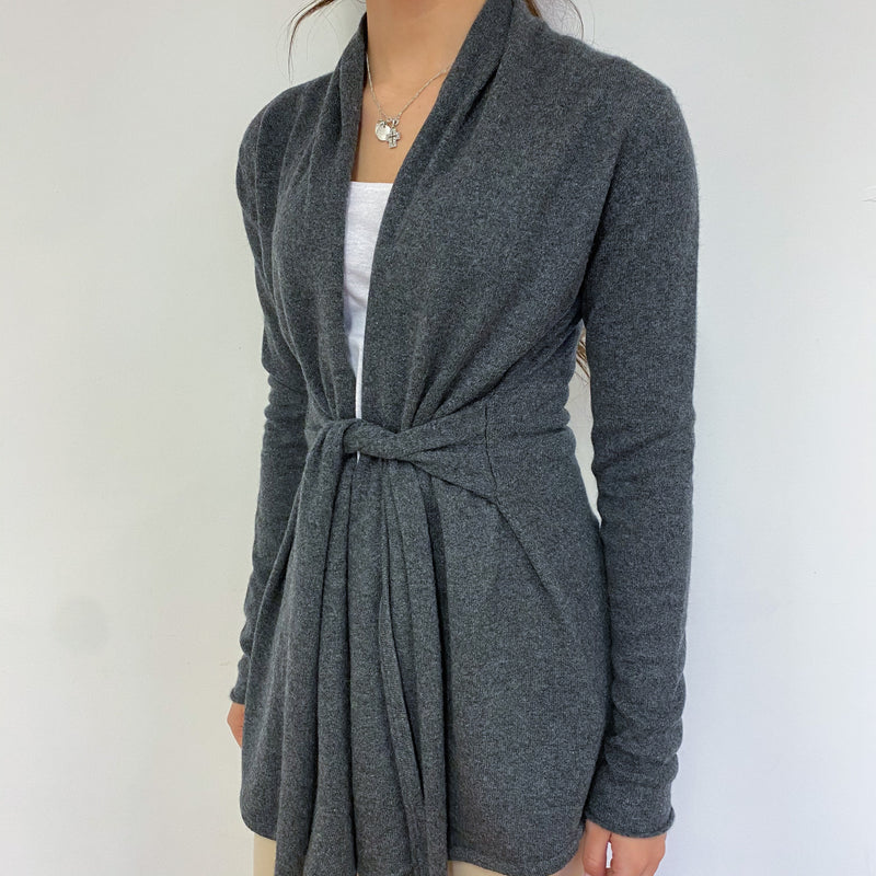 Slate Grey Tie Detailed Cardigan Extra Small