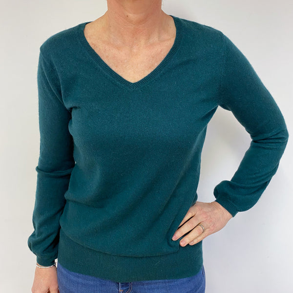 Bottle Green V Neck Star Jumper Medium