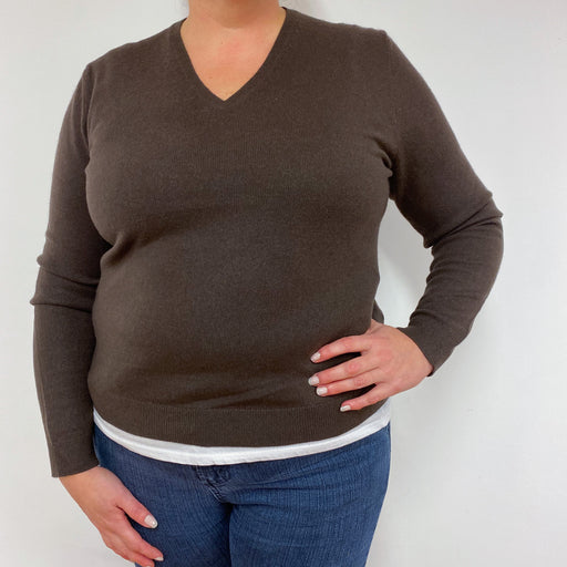 Chocolate Brown V Neck Jumper Extra Large