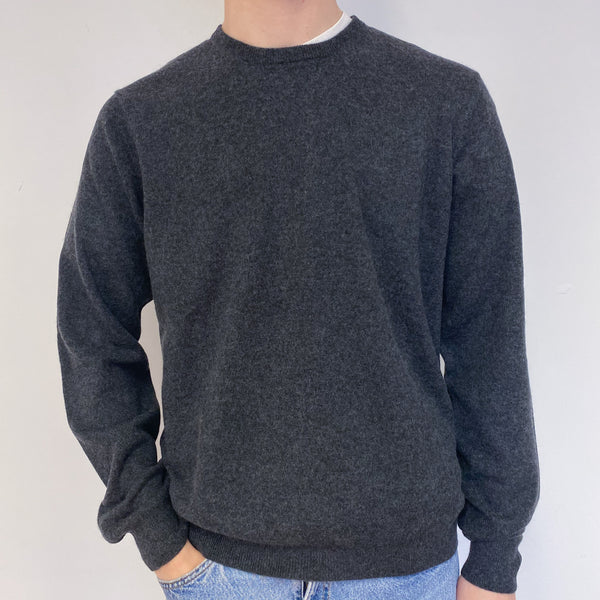 Men's Charcoal Grey Crew Neck Jumper Extra Large