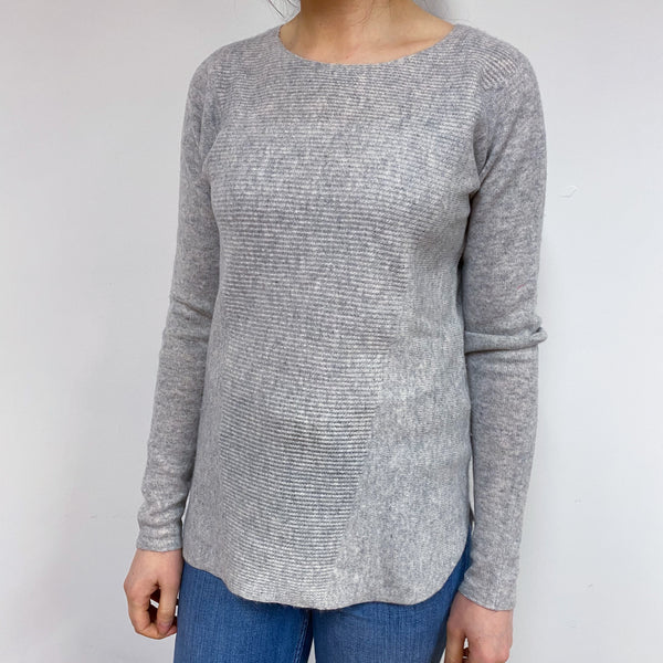 Pale Grey and Hot Pink Crew Neck Jumper Small
