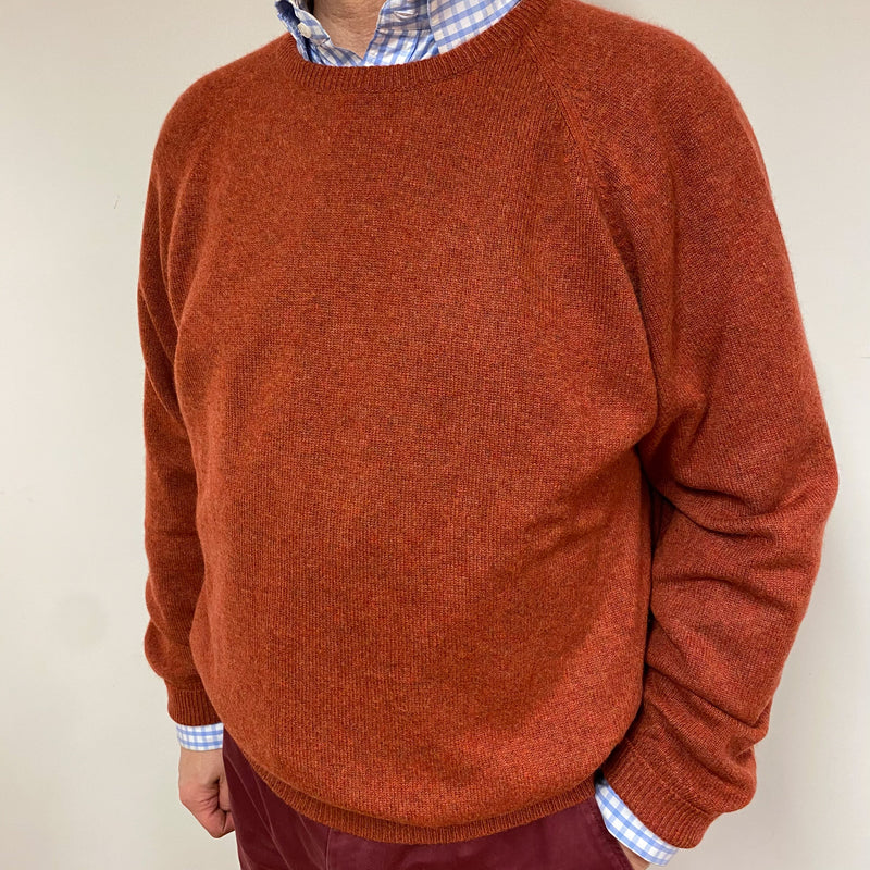 Men's Rust Orange Crew Neck Jumper XXL