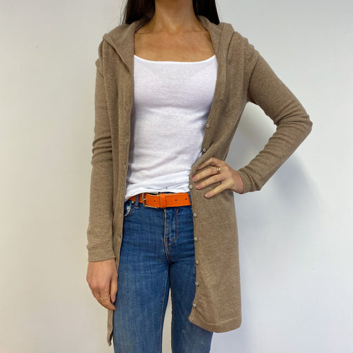 Beige Longline Buttoned Hooded Cardigan Small
