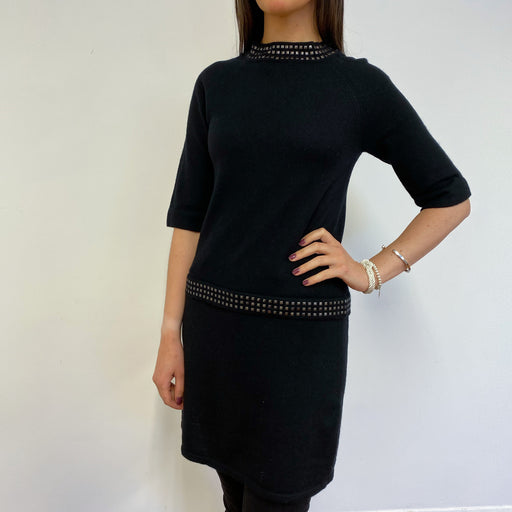 Fantastic Black and Stud Embellished Jumper Dress