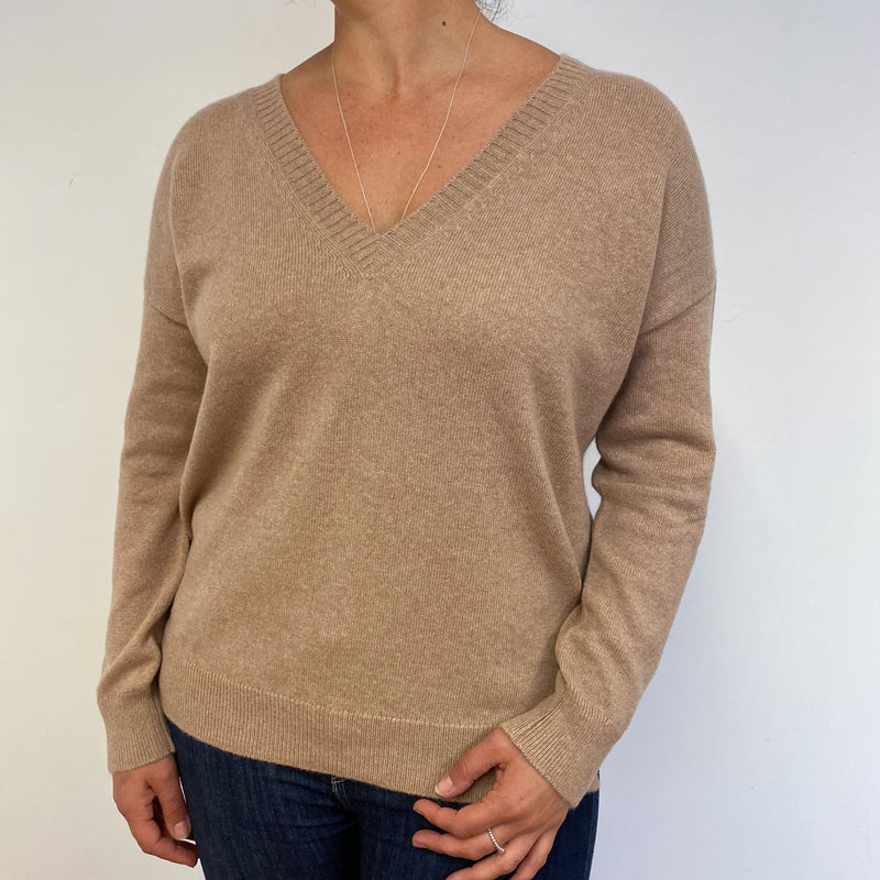 *Brand New* Scottish Cashmere Camel V Neck Jumper Large