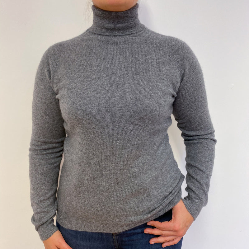 Mid Grey Polo Neck Jumper Large