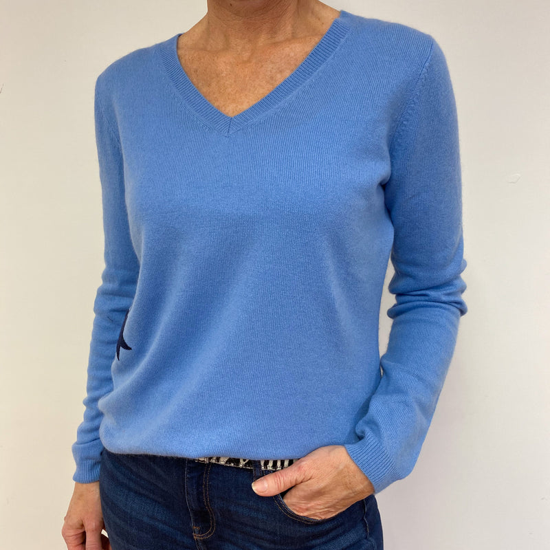 Cornflower Blue Star Detail V Neck Jumper Medium