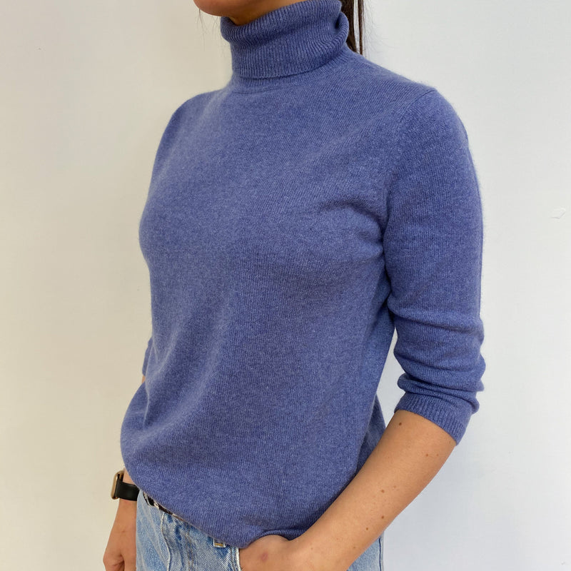 Hyacinth Blue Polo Neck Jumper Small