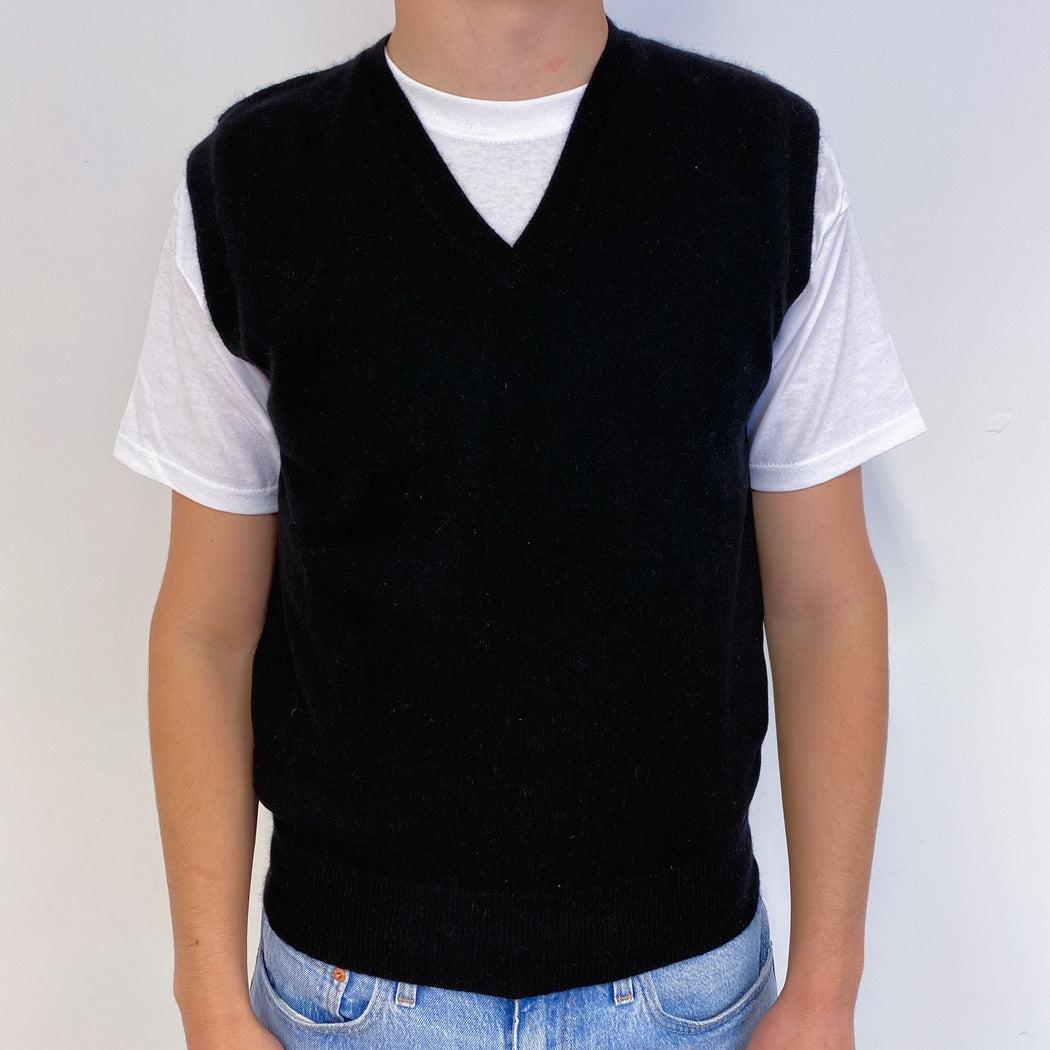 Men's Black Sleeveless V-Neck Jumper Small