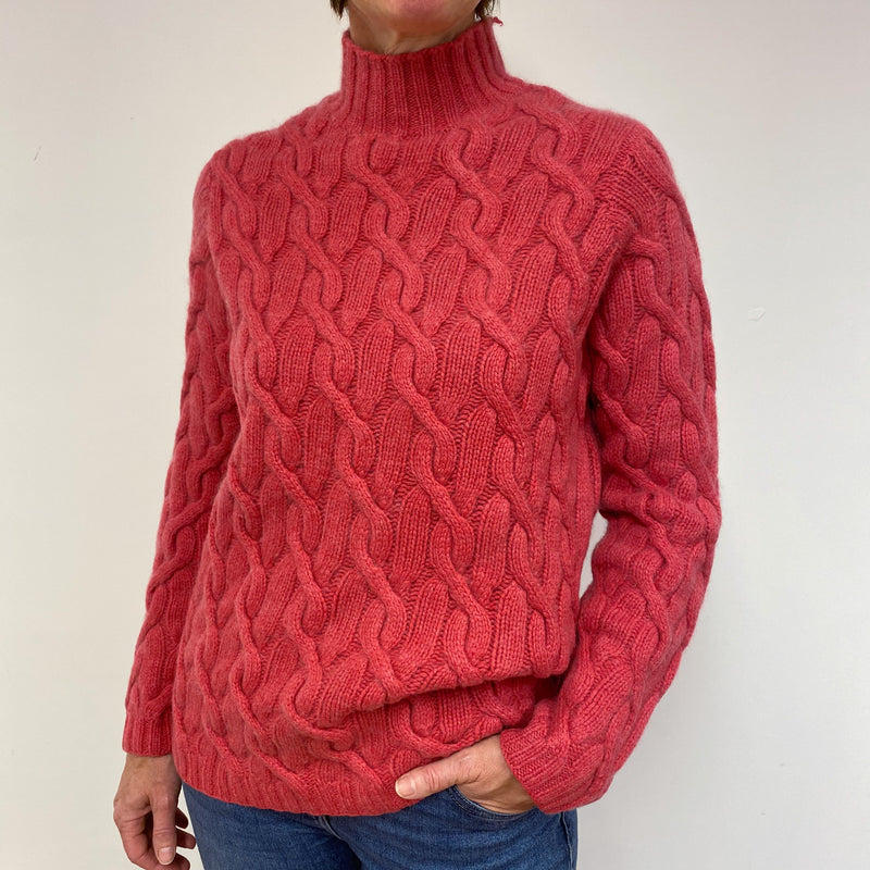 Super Chunky Crushed Strawberry Cable Knit Funnel Neck Jumper Medium