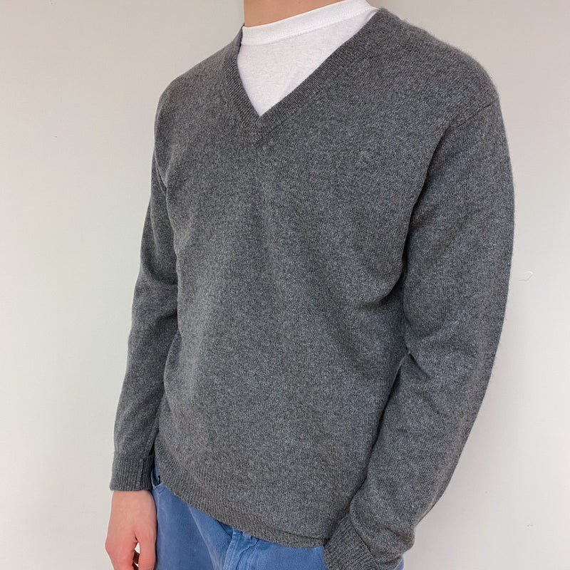 Men's Grey V Neck Jumper Medium