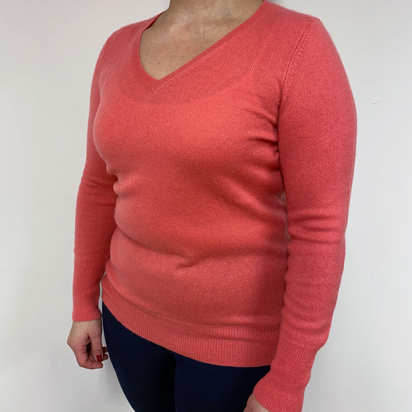 Coral V Neck Jumper Large