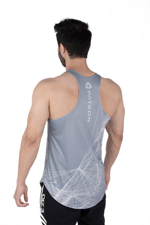 Grey Paralax lines Stringer - patson-fitness
