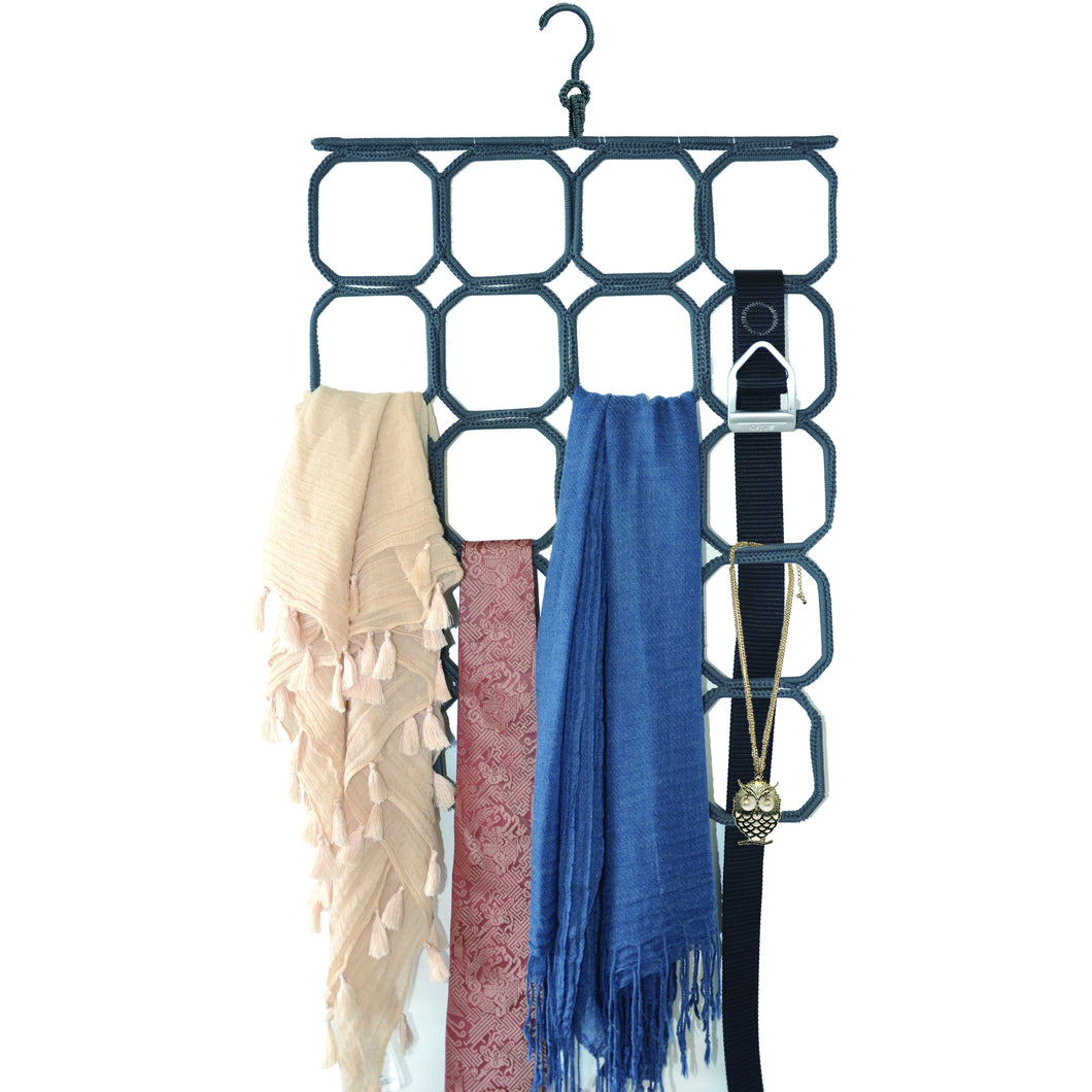 Durable 20 Loop Fabric Coated Steel Scarf Organizer, No Snag Storage for Scarves, Ties, Belts, Shawls, accessories & More