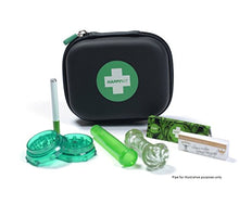 The Happy Kit All in One Smoking Pouch/Case for Tobacco Smoker - Includes Herb Grinder, Rolling Paper+Filter, Black, Deluxe (Pipe For Illustrative Purposes Only)