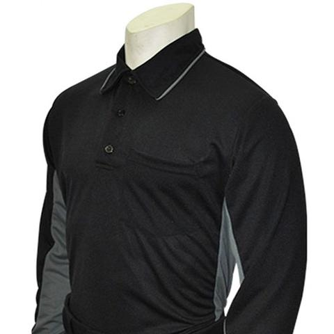 "Smitty ""Made in USA"" - Major League Style Umpire Long Sleeve Shirt - Available in Black/Charcoal and Sky Blue/Black"