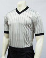 Smitty Basketball and Wrestling Grey Elite Performance Interlock V-Neck Shirt w/ Black Pinstripes