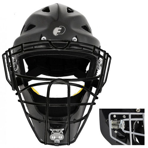 FORCE 3 DEFENDER BLACK HOCKEY STYLE MASK WITH BLACK CAGE