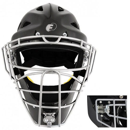 FORCE 3 DEFENDER BLACK HOCKEY STYLE MASK WITH SILVER CAGE