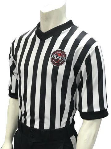 "IAABO Logo, MSBOA Logo on Right Sleeve, 1"" Black and White Stripe Basketball Shirt"