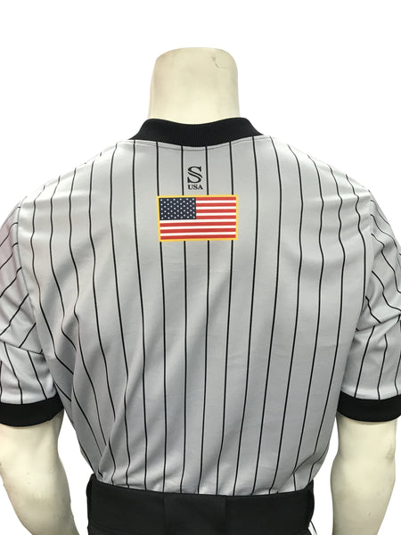 IAABO Logo, Grey Basketball Shirt Black Pinstripes