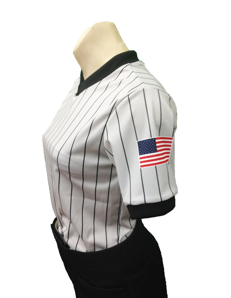 SMITTY WOMENS USA BASKETBALL DYE SUBLIMATED GREY PIN STRIPE WITH USA FLAG