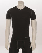 Black Compression V-Neck Short Sleeve T-Shirt
