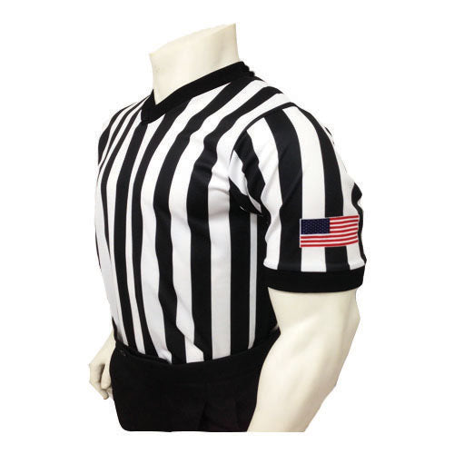 "Sublimated 1"" Stripe Basketball Officials Shirt W/Flag"
