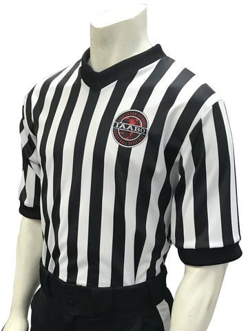"IAABO Logo, 1"" Black and White Stripe Basketball Shirt w/3"" side panel"