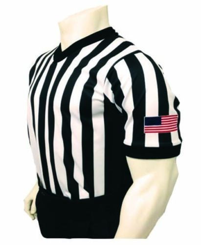 "Sublimated 1"" Stripe 3"" Side Panel Basketball Officials Shirt W/Flag"