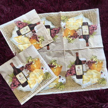 Decorative Napkins with Wine and Cheese Motif