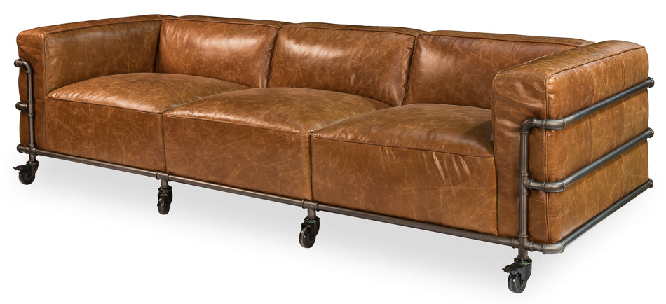Antwerp Cuba Brown Leather Sofa by Sarreid