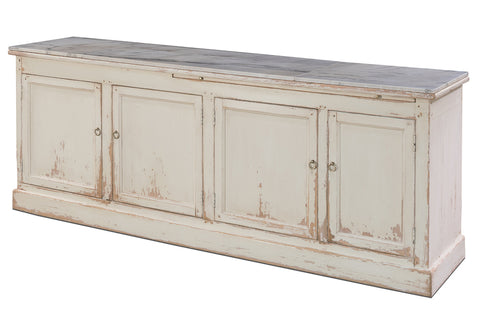 French Sideboard Recycled Pine With White Marble by Sarreid