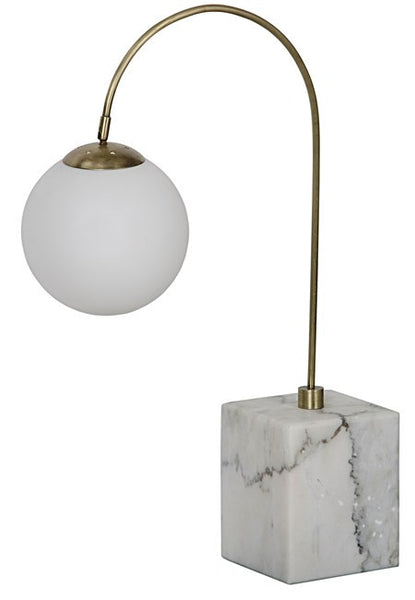 Noir Soldity Table Lamp Metal with Brass Finish, White Marble Base